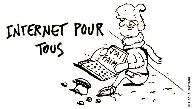 Inclusion numérique - caricature (c) Cécile Bertrand