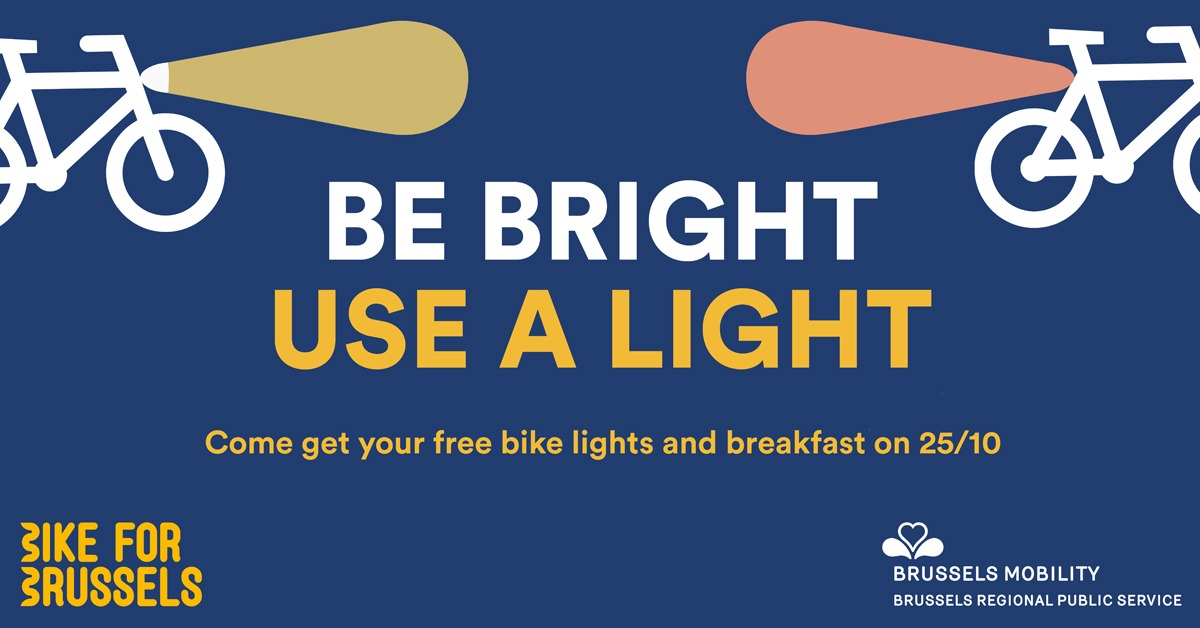 Be Bright, Use a light. Come get your free light bikes and breakfast on 25/10.
